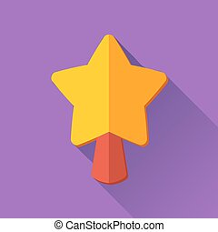 Simple Christmas star icon in flat style