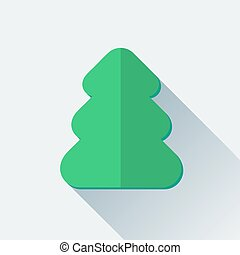 Simple Christmas tree icon in flat style