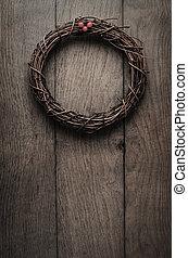 Simple Christmas Twig Wreath Hanging on Oak Plank Door -...