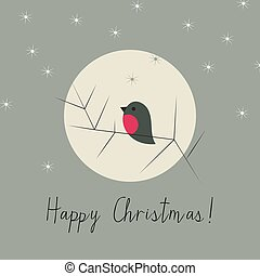 Simple Christmas winter greeting card with bullfinch