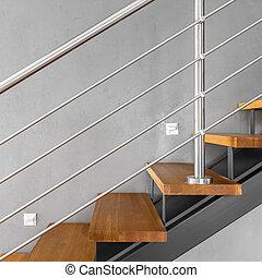 simple, chromed, escalier, balustrade