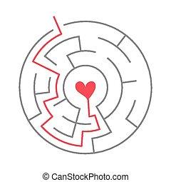 simple circular maze with heart icon