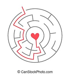 simple circular maze with heart icon