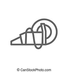 Simple circular saw line icon. Symbol and sign illustration design. Isolated on white background