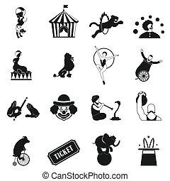 simple, cirque, ensemble, icônes