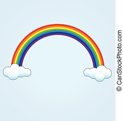 simple classic rainbow with clouds vector