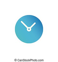 Simple Clock circle icon. Vector illustration isolated on white background.