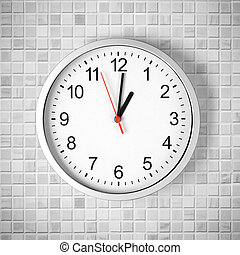 Simple clock or watch on white tile wall displaying one...