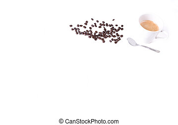 Simple coffee background, roasted coffee beans, cup of coffee and spoon isolated on white background, espresso coffee time, design for your coffee shop