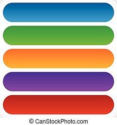 simple, coloré, plat, formé, rectangulaire, fond, gradients, bouton, bannière