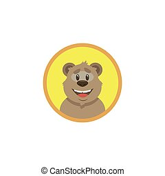 color flat art illustration of cartoon happy bear face in a round frame