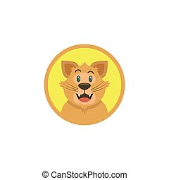 color flat art illustration of cartoon happy cat face in a round frame