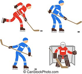 Simple color hockey player and goalkeeper icon