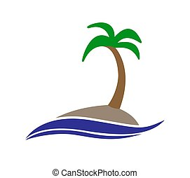 Simple color icon. An island with a palm tree in the sea