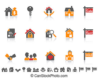 simple color real estate icon set
