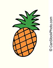 Simple, colorful and vector illustration of a pineapple