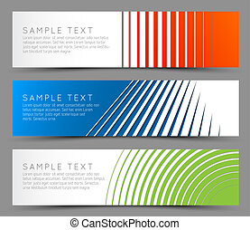 Simple colorful horizontal banners - with line motive