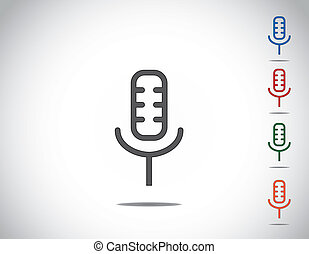 simple colorful microphone mic icon symbol collection set...
