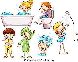 Illustration of the simple coloured sketches of people taking a bath on a white background
