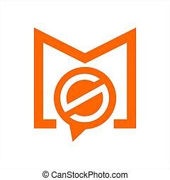 simple, compagnie, ms, , mso, vecteur, sm, logo, initiales,...