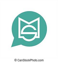 simple, compagnie, ms, vecteur, sm, logo, message,...