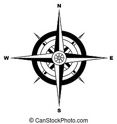 Black and white simple illustrated compass