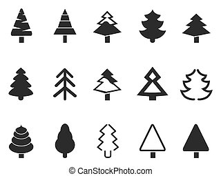 simple, conjunto, árbol, pino, iconos