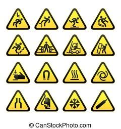 simple, conjunto, advertencia, triangular, señal