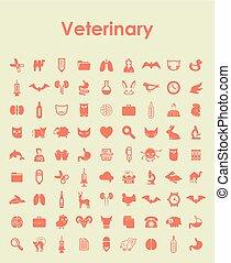 simple, conjunto, veterinario, iconos