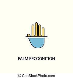 simple, contour, 2, symbole, reconnaissance, paume, coloré, ligne, jaune, élément, illustration., bleu, concept, icon.