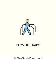 simple, contour, physiothérapie, 2, symbole, coloré, ligne, jaune, élément, illustration., bleu, concept, icon.