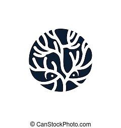 simple coral fish modern logo