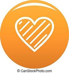 simple, corazón, icono, vector, naranja