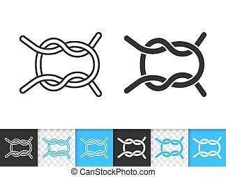 simple, corde, vecteur, noir, noeud, nautique, ligne, icône