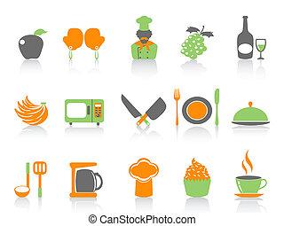 simple, couleur, ensemble, cuisine, icônes