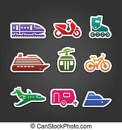 simple, couleur, ensemble, transport, icônes