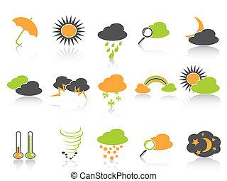 simple, couleur, temps, ensemble, icônes