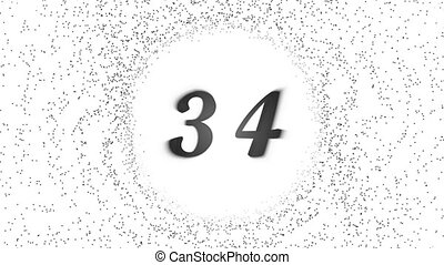 Simple countdown from sixty to one black digits on the white background