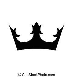 simple, couronne, icône