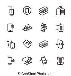 simple, couverture, intelligent, icônes