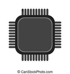 simple cpu icon - simple flat design cpu icon vector...