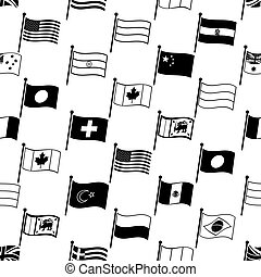 simple curved flags of different country seamless pattern eps10