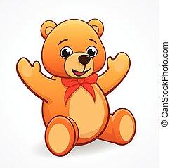 simple cute friendly teddy bear vector illustration