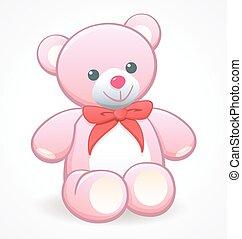 simple cute pink cuddly teddy bear vector
