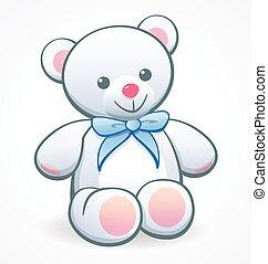 simple cute white cuddly teddy bear vector