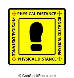 Cutting Sticker, Vector Square Warning, physical or social distance, Prevention from Covid-19 virus pandemic transmission
