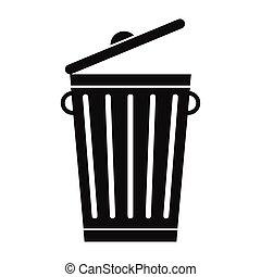 simple, déchets ménagers, noir, boîte, icône