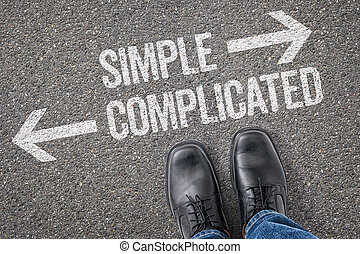 simple, décision, -, compliqué, carrefour, ou
