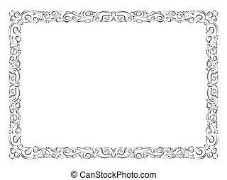 simple, décoratif, décoratif, noir, cadre