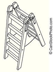 simple, de madera, stepladder.